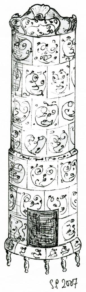 Rokokoo-tyylinen uuni. Piirros: Susanna Palovaara/Hattulan Kaakelitehdas Oy.